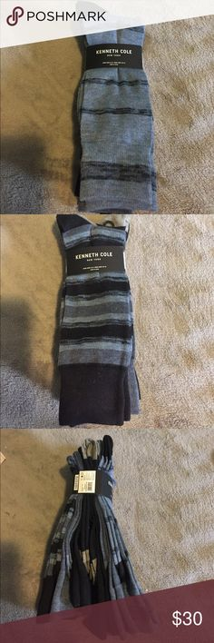 NEW KENNETH COLE DRESS SOCKS NWOT 6 pairs of socks with blue, black, & gray patterns.  97% polyester/3% spandex Kenneth Cole Underwear & Socks Dress Socks