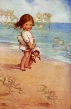 Mabel Lucie Atwell - British Illustrator - The Song of the Sea Fairies Vintage Children's Books, Vintage Postcards, Vintage Art, Vintage Pictures, Vintage Images, Children's Book Illustration, Book Illustrations, Beach Art, Drawing For Kids