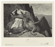 """A peaceful repose. The maiden does not look terribly distressed at having been carried off, and the beast doubtless does not know its fate depicted in """"The Four Skillful Brothers.""""         """"Dragon Resting Its Head On The Lap Of A Woman."""" by R. Leinweber. Printed in """"Kinder und Haus märchen gesammelt durch die Bruder Grimm : mit 4 Bildern in Farbendruck und 181 text illustrationen."""" (Stuttgart: Deutsche Verlags-Anstalt, 1912)"""
