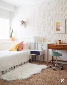 Mid century boho girls' room This girls' room has been a really fun project for our 8 year-old. I love how a little paint and 4 Year Old Girl Bedroom, 10 Year Old Girls Room, Little Girl Rooms, Girls Bedroom, Bedroom Decor, Bedrooms, Cute Bedroom Ideas, Girl Bedroom Designs, Old Room