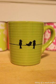 Bird mug DIY Bird Mug - so cute! I'd use the porcelain sharpies instead of paint.DIY Bird Mug - so cute! I'd use the porcelain sharpies instead of paint. Sharpie Projects, Sharpie Crafts, Diy Sharpie Mug, Diy Projects To Try, Diy Crafts, Sharpie Coffee Mugs, Sharpie Mug Designs, Art Projects, Sharpie Doodles