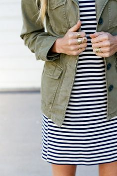 Wouldn't have thought stripes & army jacket! Love it! :)