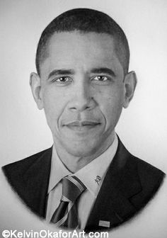 """Barack Obama"" pencil art by Kelvin Okafor"