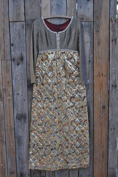 Vintage Quilted Metallic Maxi Dress Size 4