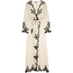 Carine Gilson Egérie silk-satin robe ($574) ❤ liked on Polyvore featuring intimates, robes, lingerie, underwear, pajamas, dresses, lingerie robe, dressing gown, bath robes and silk satin robe