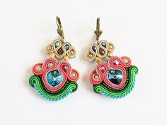 Soutache earrings with Swarovski by AnnaZukowska on Etsy