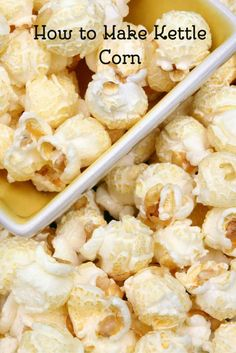 Learn how to make Kettle Corn at home. Your family will love this easy snack recipe. This is a great vegetarian snack idea. Vegetarian Snacks, Diet Snacks, Easy Snacks, Healthy Snacks, Snacks Homemade, Homemade Popcorn, Yummy Snacks, Easy Desserts, Healthy Eating