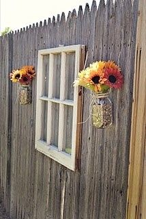 old windows ~ dress up the fence