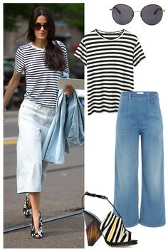 A black & white striped tee pairs perfectly with denim culottes. Shop the street style look here: