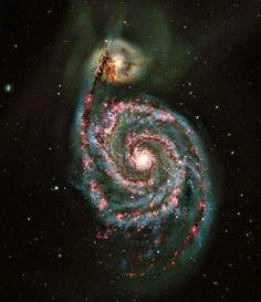 The Whirlpool Galaxy (Messier Mauna Kea - Hawaii with the Canada-France-Hawaii Telescope Carl Sagan Cosmos, Hubble Space Telescope, Space And Astronomy, Galaxy Photos, Galaxy Images, Spiral Galaxy, Whirlpool Galaxy, Andromeda Galaxy, Galaxy Space