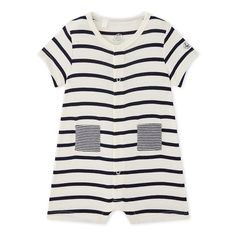 Baby boy striped short coverall