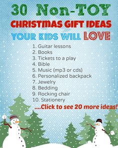 I'm on a mission to cut down on our pile of toys that nobody actually plays with! So I'm thinking of non toy, thoughtful, experience-type Christmas gift ideas for my kids. Here are 30 ideas.