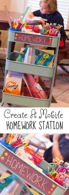 Create this Mobile Homework Station to make Back to school a cinch this fall. No more searching for supplies. Get organized to make Homework a breeze. Homework hacks.  #ad