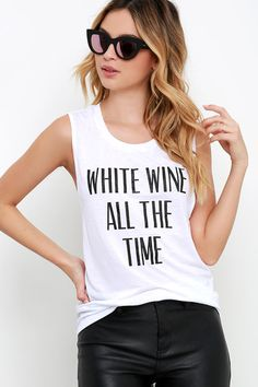 Private Party White Wine All the Time White Muscle Tee at Lulus.com!