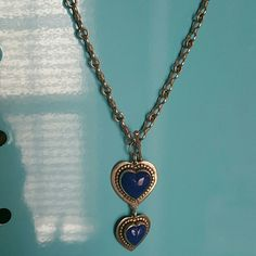 STERLING SILVER BLUE LAPIS STERLING SILVER NECKLACE BLUE LAPIS HEARTS 23IN LENGTH PLUS DROP LARGE HEART 1 INCH  SMALL HEART 3/4 INCH Jewelry Necklaces