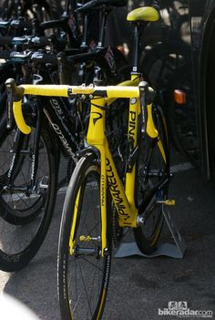 For the final stage to Paris, Wiggins rode a special all yellow Pinarello Dogma 65.1 machine rather than the Dogma 2 he'd used all race
