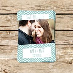 Chevron Save the Date Photo Card - Aqua, Plum, or You Choose Color - Personalized Printable Wedding Announcement. $15.00, via Etsy.