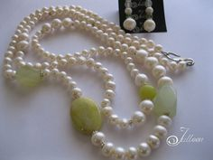 Long Pearl Necklaces, Pearl Earrings, Necklace Set, Beaded Necklace, Pearl White, Round Beads, Peridot, Gemstone Beads, Jasper