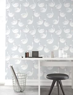 Removable Wallpaper, Self-adhesive Wallpaper, Swan pattern Wallpaper, Wall Décor, Walpaper murah, Wallcovering - JW087