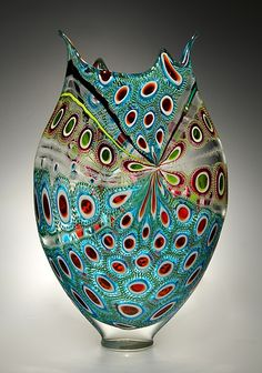 """Lime, Ruby & Aqua Foglio"" Art Glass Vessel by David Patchen.Created by David Patchen One of a Kind From Patchen's Foglio series, this work was created using the difficult murrine technique of making patterned glass ''tiles'', then fusing them together to construct a glass bubble."