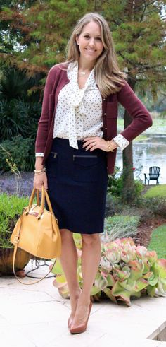 Maroon cardigan, pencil skirt, bow blouse