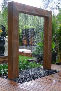 Giant copper rain shower fountain