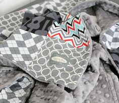 Inspiration for Baby Ward's Room     Baby Blanket Modern Baby Quilt  Grey Groovy by GiggleSixBaby, $75.00