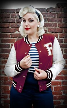 - Sweat College Jacke - bordeaux Sweat baseball jacket Comfortable material and cool look for all Rockabellas! - Rockabilly Rules - Online ShopSweat baseball jacket Comfortable material and cool look for all Rockabellas! Rockabilly Outfits, Moda Rockabilly, Moda Pinup, Rockabilly Hair, Rockabilly Fashion, Retro Fashion, Vintage Fashion, Lolita Fashion, Outfits Otoño