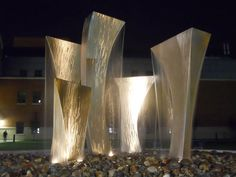 Stainless Steel (water) Abstract Contemporary or Modern Outdoor Outside Exterior Garden / Yard Sculptures Statues statuary by Barton Rubenstein titled: 'Synergy (stainless Steel Big Water sculpture)'.