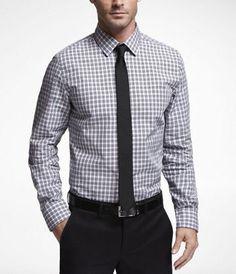 Express plaid modern fit shirts.