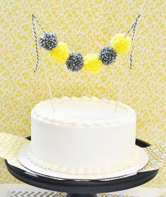 Items similar to Gray & Yellow Yarn Pom Pom Cake Bunting - Garland, Baby Shower, Wedding Shower, Cake Topper, Birthday Party on Etsy Cake Bunting, Cake Banner, Bunting Garland, Diy Bunting, Baby Shower Giraffe, Baby Shower Cakes, Pretty Cakes, Cute Cakes, Baking Cupcakes