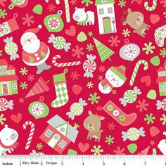 FABRIC 2014 CHRISTMAS Home for the by DorothyPrudieFabrics on Etsy.