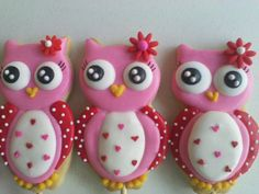 Cute heart breasted pink owl decorated Valentine cookies OWL LOVE by Galletas divertidas on Flickr