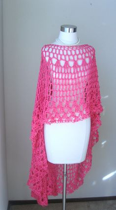 Hot PINK MAXI VEST Crochet Knit Fit Any Size Long por marianavail