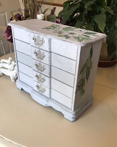 Vintage Wooden Jewelry Box / Shabby Chic Painted Jewelry Chest / OOAK Designer Jewelry Box by ByeByBirdieDesigns on Etsy https://www.etsy.com/listing/551933005/vintage-wooden-jewelry-box-shabby-chic