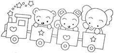 This would make a cute applique Baby Applique, Baby Embroidery, Hand Embroidery Patterns, Cross Stitch Embroidery, Embroidery Designs, Train Coloring Pages, Colouring Pages, Teddy Pictures, Funny Pictures