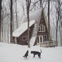 Winter A-frame cabin Winter Cabin, Cozy Cabin, Little Cabin, Little Houses, Ideas De Cabina, Cabin In The Woods, Cabins In The Snow, Cottage In The Woods, A Frame House