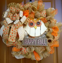 Happy Fall Owl Wreath by marinascustomdesigns on Etsy, $69.00