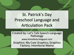 St. Patrick's Day Preschool Language and Articulation Packet - Lets Talk Speech Language Pathology - TeachersPayTeachers.com