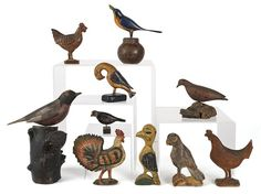 Collection of carved folk art birds, 19th/20th c. : Lot 35