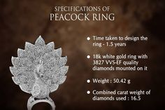 Important things you shall know about the recorder breaking Peacock Ring designed at Savio jewellery! The Ring 1, Peacock Ring, Quality Diamonds, Diamond Jewellery, White Gold Rings, Jaipur, Ring Designs, Facts, Jewelry