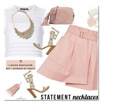 """Statement Necklace"" by arethaman ❤ liked on Polyvore featuring Balenciaga, Isabel Marant, Thakoon, Gucci, alineskirt, statementnecklaces, isabelmarantsandals and knitcroptop"