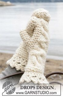 DROPS Mittens with cable pattern in Eskimo ~ DROPS Design