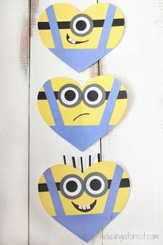 The best DIY projects & DIY ideas and tutorials: sewing, paper craft, DIY. DIY Valentine's Day Gifts : DIY Valentine's Day card for kids - Heart Minion Craft -Read Valentine's Day Crafts For Kids, Valentine Crafts For Kids, Valentines Day Activities, Valentines Day Hearts, Preschool Crafts, Fun Crafts, Minion Valentine, Diy Valentine, Minion Craft
