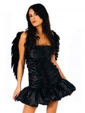 Élastique robe pièce costume noir ange ailé