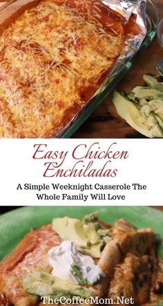 Looking to make Easy Chicken Enchiladas? This chicken enchilada casserole recipe is super simple and a perfect weekday meal the whole family will love. Easy Chicken Enchilada Casserole, Enchilada Recipes, Chicken Enchiladas, Enchiladas Healthy, Mexican Food Recipes, Dinner Recipes, Dinner Ideas, Entree Recipes, Mexican Dishes