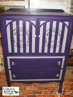 Victoria's Vintage Designs: Hand Painted Antique Wardrobe/Armoire/Dresser in Purple