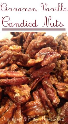 Cinnamon Vanilla Candied Nuts - One Acre Vintage Homestead Candied Pecans Recipe, Candied Nuts, Toasted Pecans, Almonds, Cinnamon Nuts Recipe, Glazed Nuts Recipe, Glazed Pecans, Sugared Pecans, Cinnamon Pecans