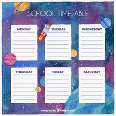 School timetable template with watercolor galaxy Free Vector Schedule Templates, Planner Template, Timetable Template, Notes Template, School Timetable, English Worksheets For Kids, Quotes For Book Lovers, School Schedule, Watercolor Galaxy