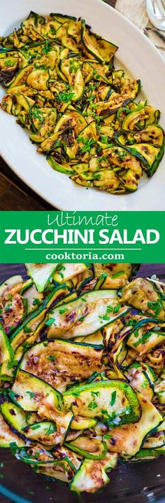 This Ultimate Zucchini Salad is so flavorful and healthy, you'll want to make it all summer long! Seasoned with lemon-parsley dressing, it requires only 5 ingredients! #zucchini #summersalad